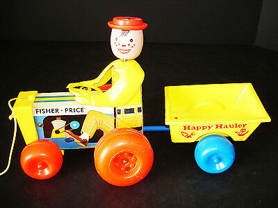 Vintage Fisher-Price #732 Happy Hauler Tractor & Cart Pull Toy Collector Quality