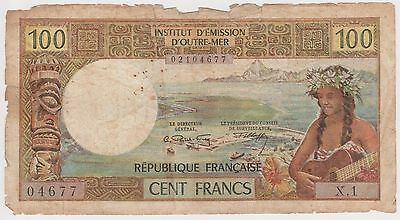 (N2-45) 1960s French Pipette 100 Franks bank note (B)