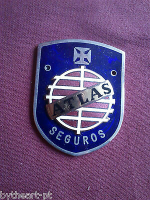 Vintage Portugal Atlas Insurance Company Enamel Car Grille Badge Emblem