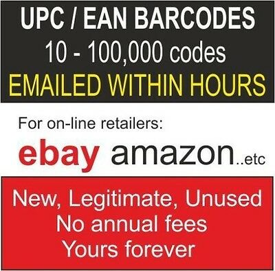 1000 UPC/EAN Numbers Barcodes Bar Code Number Lifetime Guarantee marketplace