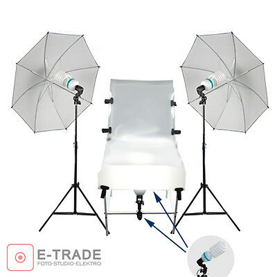photo set for PRODUCT PHOTOGRAPHY - shotting table lamps umbrellas