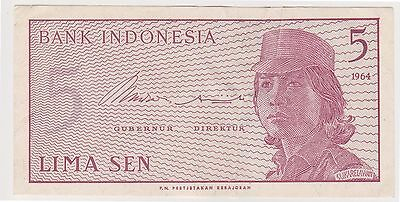 (N2-91) 1964 Indonesia 5 SEN bank note (L)
