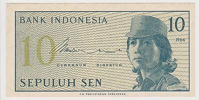 (N2-82) 1964 Indonesia 10 SEN bank note (C)