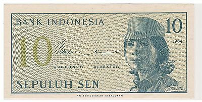 (N2-80) 1964 Indonesia 10 SEN bank note (A)