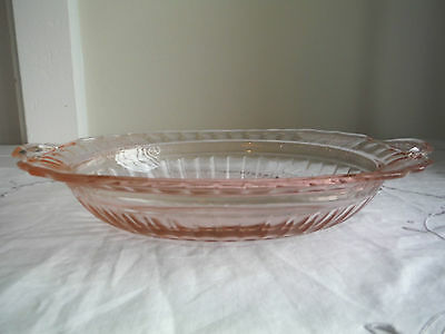 Pink Mayfair Open Rose Depression Glass 11' Oval Vegetable Dish Bowl