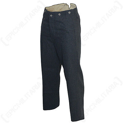 WW2 Luftwaffe M40 Wool Trousers - Repro German Uniform Pilot Pants Blue Mens New