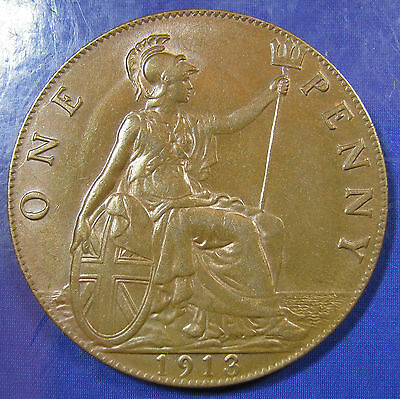 1913 1d George V Penny 1+A, F.174, one of the scarcer die combinations