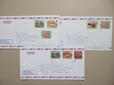 Three Pacific Is-Cook Is covers with MARINE LIFE stamps