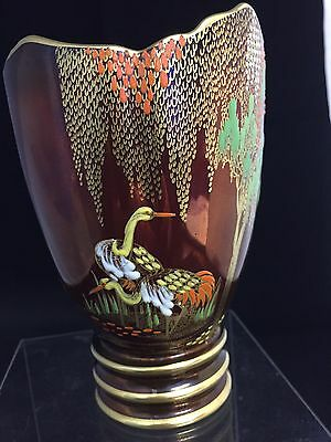 "Carlton Ware Rouge Royale Tulip Shaped Vase With New ""mikado Design"""