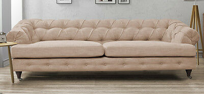 Chesterfield Beige 3 Seater Sofa Fabric Linen Quality Chrome