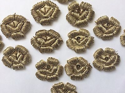 14 Pc Antique Ottoman Turkish Silver Metallic Hand Embroidered Roses  Applique