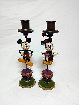 Mickey & Minnie Mouse taper candle holders Auth Disney Parks Retired rare