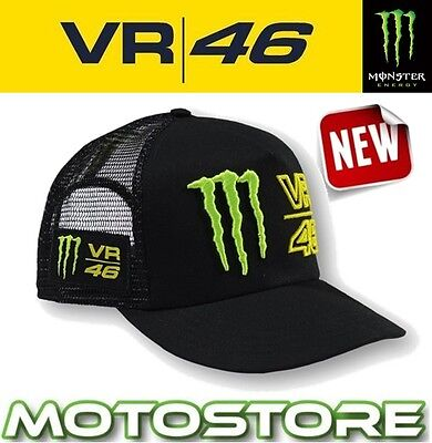 Vr46 Valentino Rossi Monster Energy Flat Cap Official Hat Genuine Claw Black