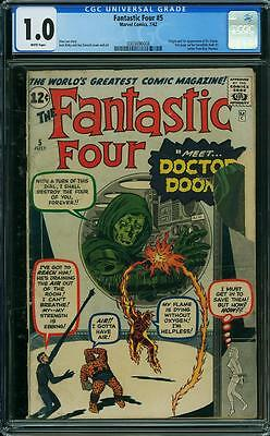 Fantastic Four 5 Cgc 1.0 White Pages 1 St Doctor Doom Avengers Xmen Spiderman
