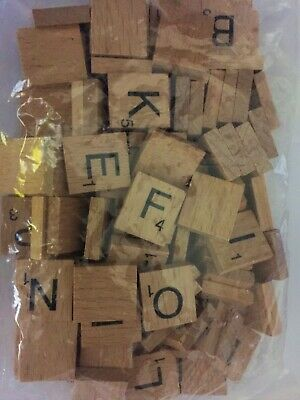 Wooden Scrabble Tiles Letters Craft Alphabet Board Game Fun Toy Gift Single UK