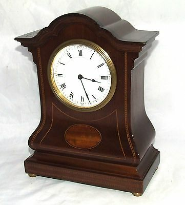 Swiss Antique Inlaid Mahogany Balloon Bracket Mantel Clock : Working Order
