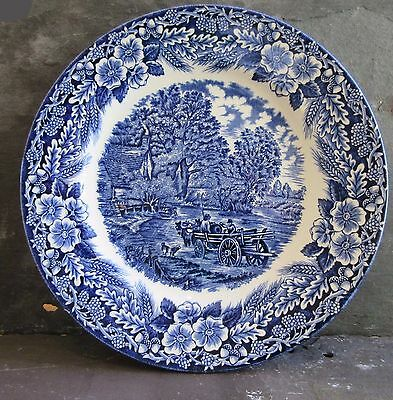 Antique Blue and White Plate, Pastoral Scene with Wagon, Marked Crown Clarence