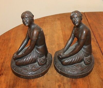 Bookends Jeanne D'Arc - Jennings JB 1876 Bronze over Metal Vintage - Joan of Arc