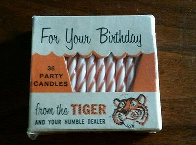Vintage Humble Oil Esso Exxon Tiger Birthday Candles Sealed Tiger Advertising