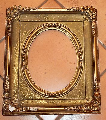 Antique Gilt Wood & Gesso Ornate Frame with Oval Opening 8 X 10; 12 1/2 X 14 1/2