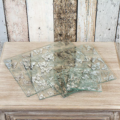 Set of 4 Placemats and Coasters Mirrored Glitter Butterfly Table Setting Mats