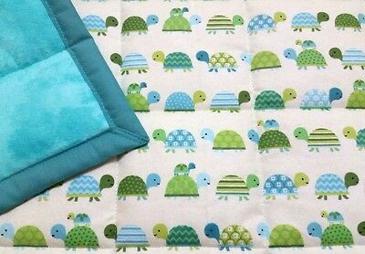 """HANDMADE,""""TURTLES"""", 34X43in, FLANNEL,  BOYS, BABY/TODDLER QUILTED BLANKET -GIFT"""