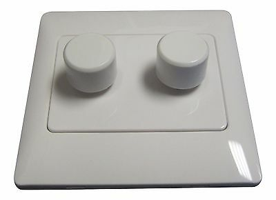 White Double Dimmer Switch 2 Way 2 Gang 250W Screwless Appearance Made By Get