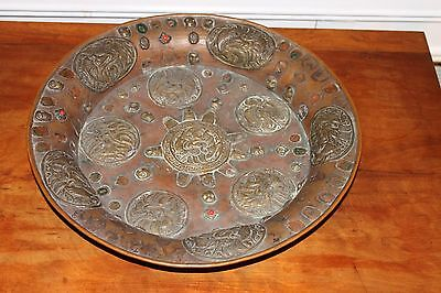 19th Century Tibetan Nepalese Asian Embossed Copper Bowl Plate Medallians Stones