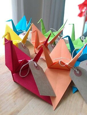 20 Handmade Origami Cranes with tag (Arts, Crafts, Wedding Favours, Decorations)