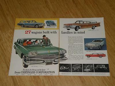 Vintage Magazine Ad - 1960 - Chrysler Station Wagons  (two-pages)