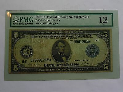 1914 Large size $5 Federal Reserve Note - PMG F12