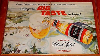 Awesome 1959 Carling Black Label Canadian Beer Ad With Laurentians Artwork 50S