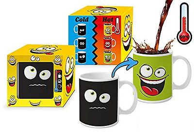 La chaleur Couleur Changeante Mug Magic - Funny Face Vert -