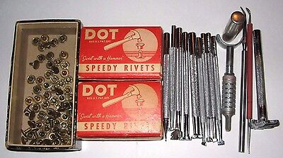 CRAFTOOLS Lot 14 Leather Stamps Tools + Dot Speedy Rivets POT LEAF Flowers CLAY
