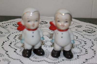 Vintage...lot Of 2...ceramic....little Boys, In Snow Suits....figurines...japan