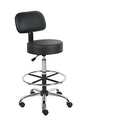 Boss Office Products B16245-BK Be Well Medical Spa Drafting Stool with Back,  B