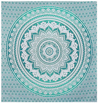 Indian-hippie Bohemian-psychedelic Ombre-mandala Wall-hanging-tapestry-light-gre