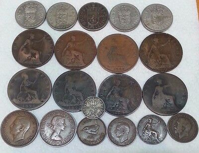 Lot Old 20 Uk United Kingdom England Old Collection Coins 1922 Silver Sil 03