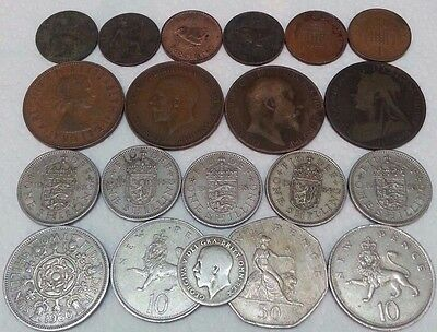 Lot Old 20 Uk United Kingdom England Old Collection Coins With Silver Sil 02