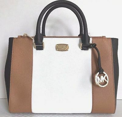 Michael Kors Kellen Medium Satchel Leather Handbag Acorn / White / Black