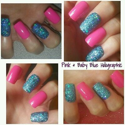 Bright Pink & Baby Blue Holographic SQUARE Full False Nails x 20 Super Sparkly