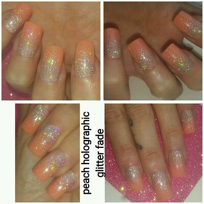 Peach with Silver Holographic Glitter SQUARE Full False Nails x 20 Super Sparkly