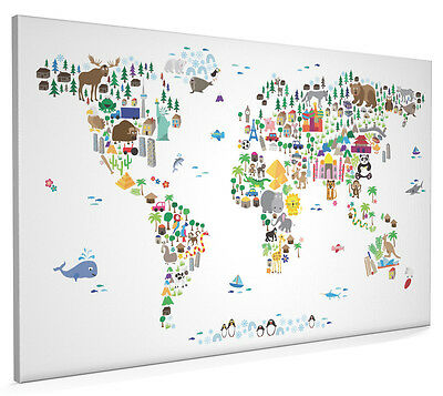 Animal Map of the World for Children and Kids Box Canvas and Poster Print (61)