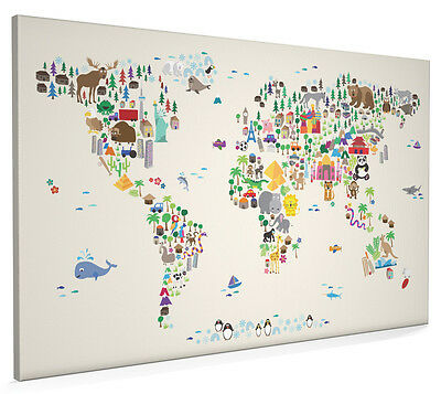 Animal Map of the World for children and kids Box Canvas and Poster Print (612)