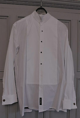 Immaculate Moss Bros White Cotton Formal Dress Shirt Wing 16 Collar 42/44 Chest