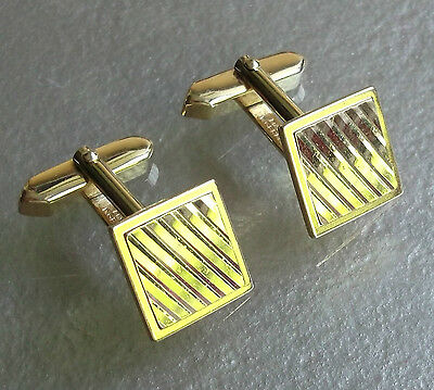 Vintage Cufflinks 1960's 1970's Mod Goldtone Metal Diagonal Striped Cut Square