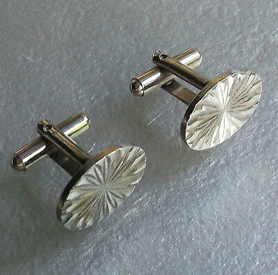 Vintage Cufflinks 1960's 1970's Mod Starburst Oval Cut Goldtone Metal