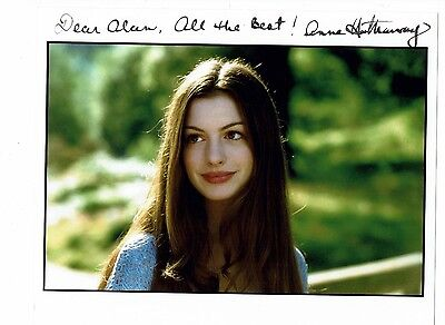 Anne Hathaway American  Actress Hand Signed Photograph 10 x 8