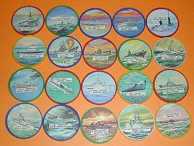 Fighting Warships Complete Set of 20 Coins Krun-Chee,Canada 1960's - Nr Mt - Mt
