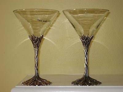 2 Grey Goose MARTINI GLASSES With Pewter Leaf Stems Cocktail Stemware Perfect